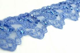 Mid Blue 3-4.5cm Sequined and Beaded Scalloped Lace Trim